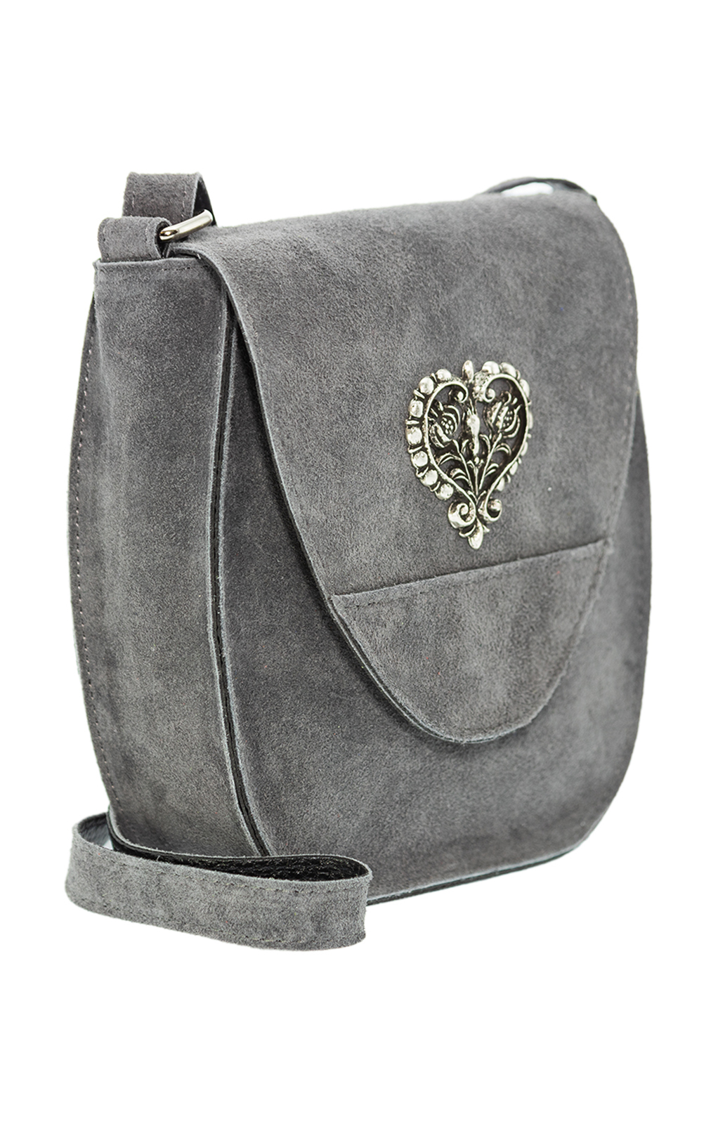 weitere Bilder von Traditional leather bag with heart gray