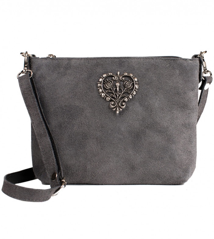 Traditional dirndl bag with metal heart TA30540-8525, gray