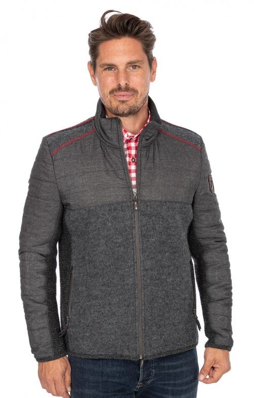 German traditional jacket MONTREAL medium gray red