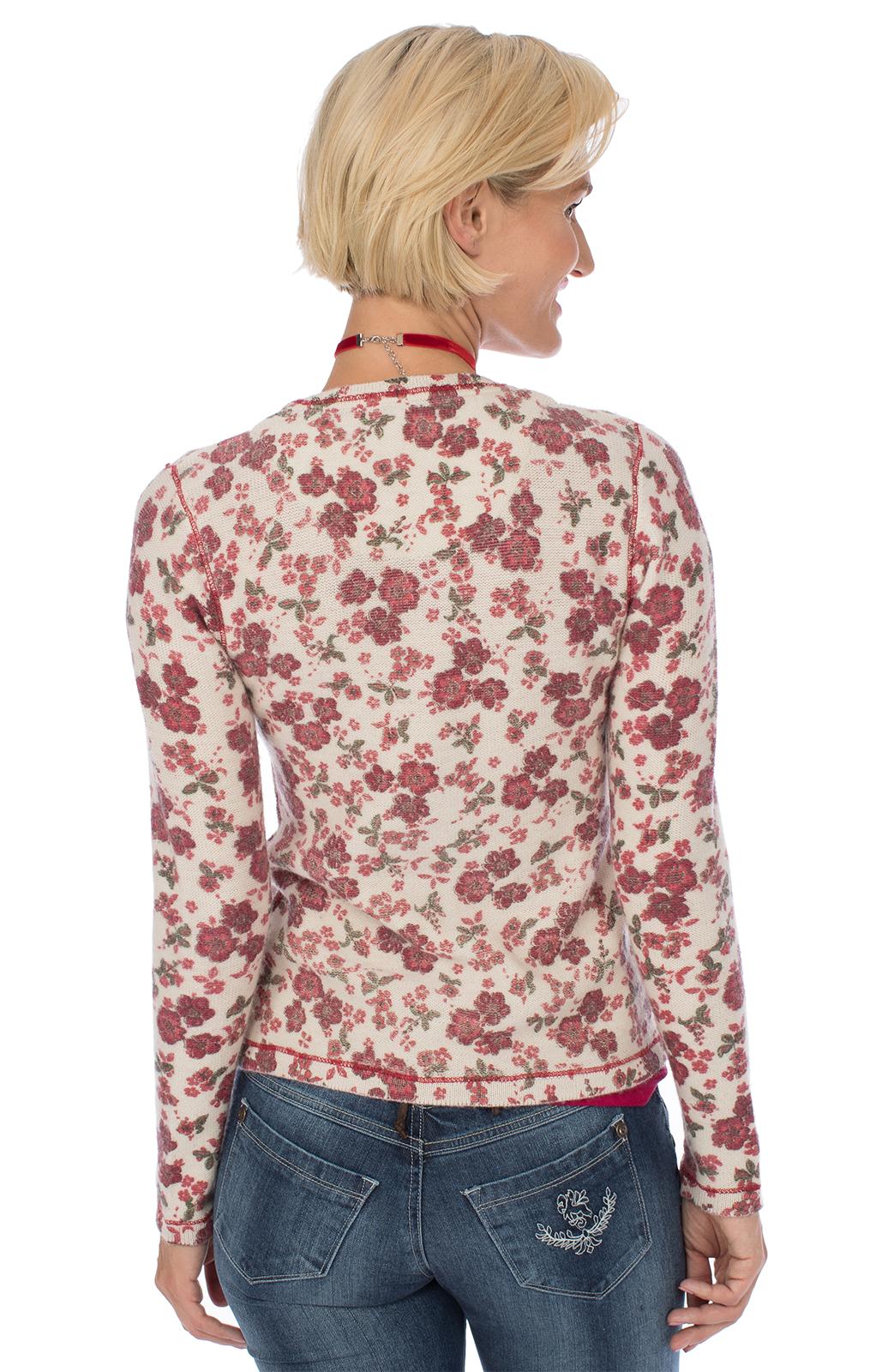 weitere Bilder von Trachtenjacke HOLUNDER Blumenmotiv rot beige