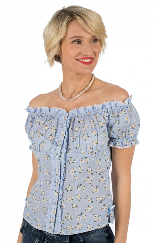 Traditional blouse BLUMENWUNDER blue