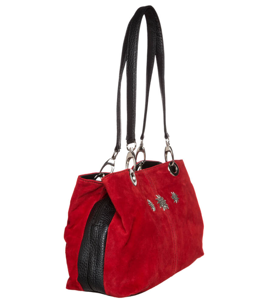 weitere Bilder von Trachtentasche TA30200 Leder mit Edelweiss, rot