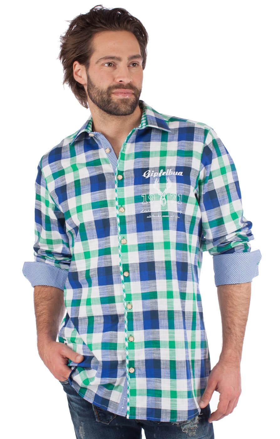 German traditional shirt 920001-3259-564 green blue von OS-Trachten