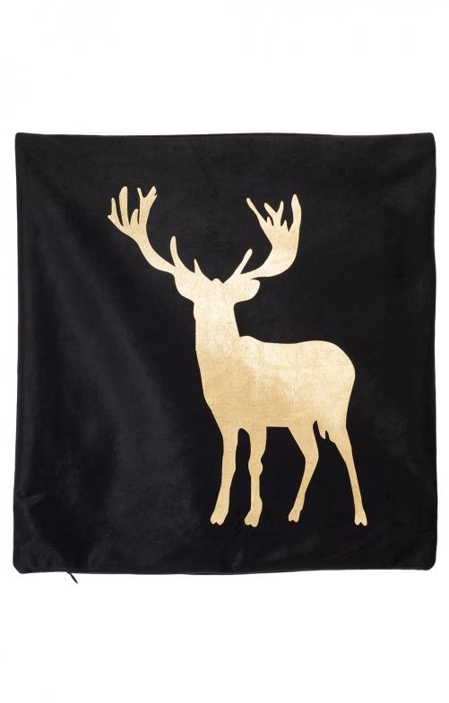 Fodera per cuscino stampata con testa di cervo nero