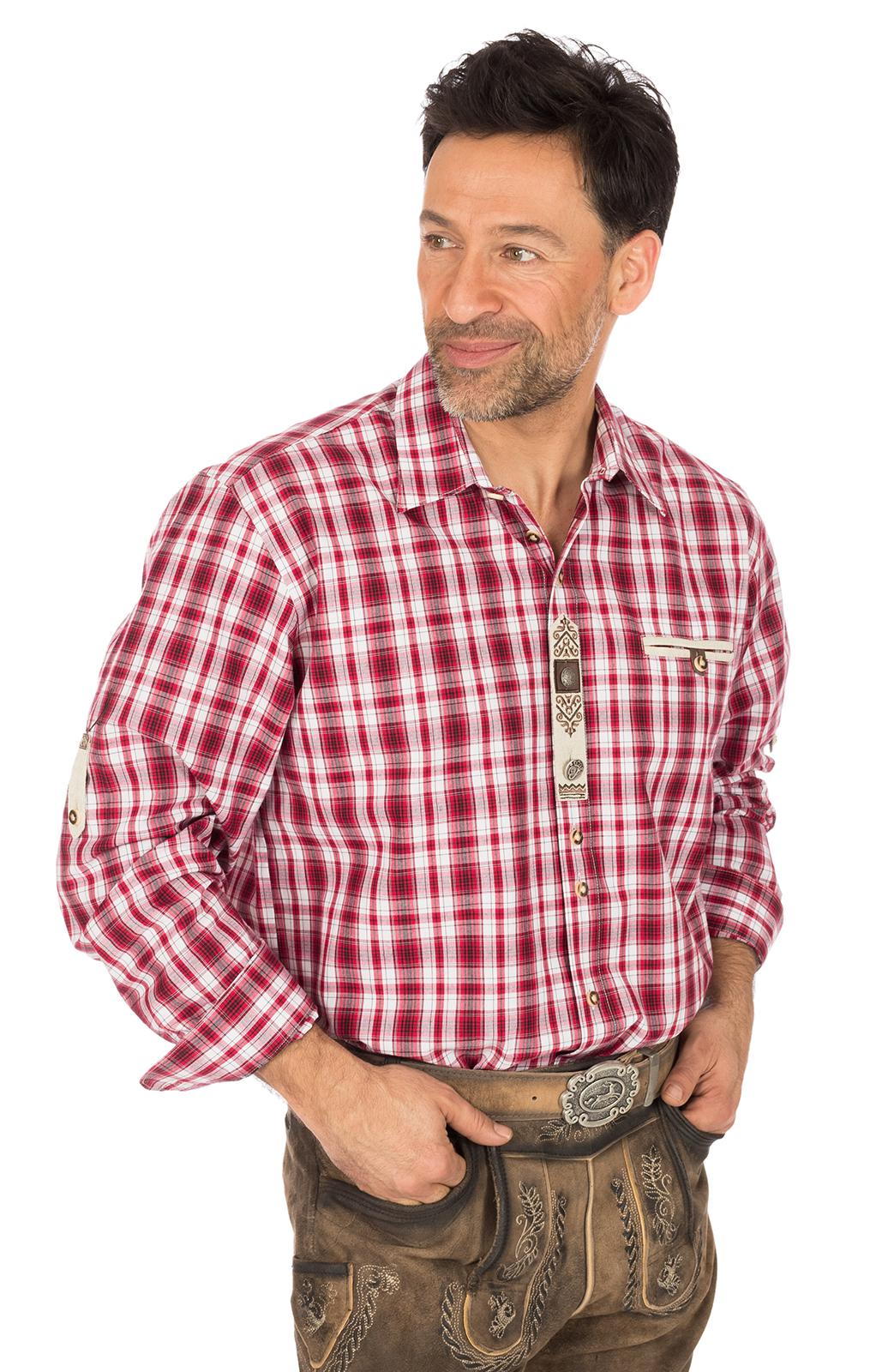 weitere Bilder von Trachtenhemd FLORIAN Webkaro rot