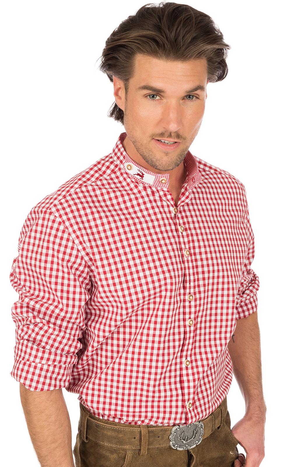 Trachtenhemd IRANO Stehkragen rot weiss von OS-Trachten