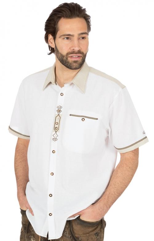 German traditional shirt short arms SIMON white