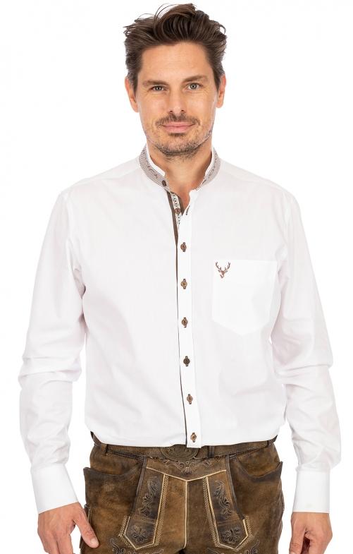Stehkragenhemd 420002-3684-1 weiß braun