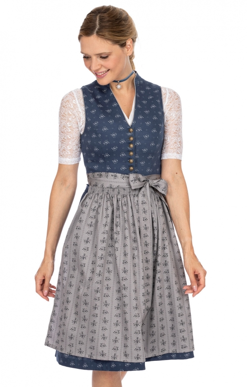 Mididirndl 2pcs. 65 cm AMALIE dark blue gray