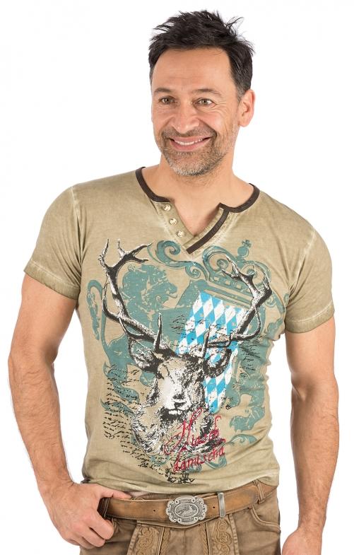 Trachten T-Shirt E45 - FABIAN BAVARIA taupe