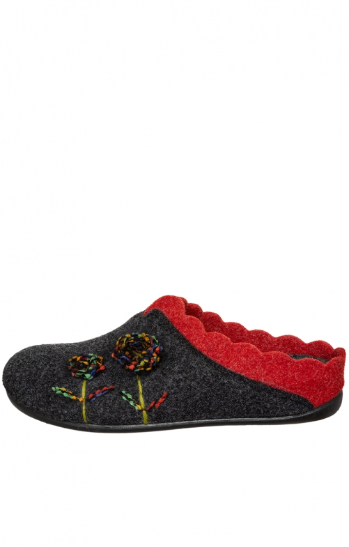 Traditional Slipper NELLY black red