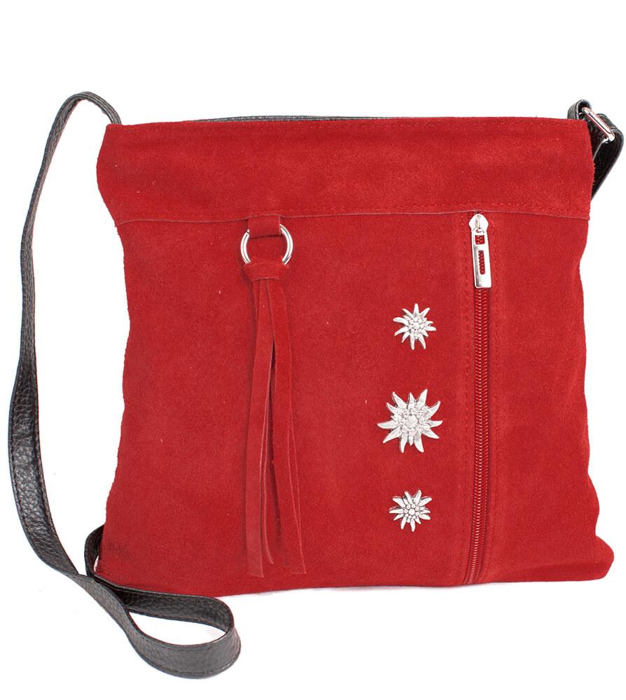 Wildledertasche mit Edelweiss, rot von Schuhmacher
