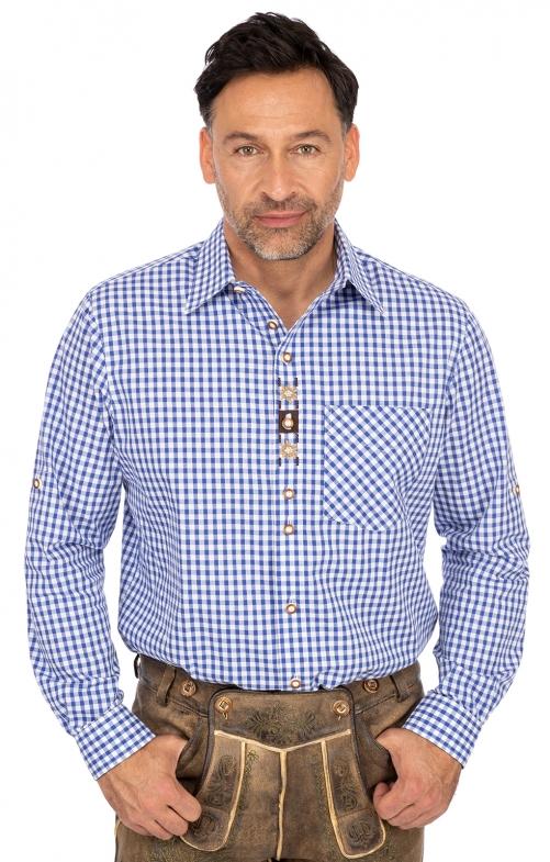 Karo Langarmhemd FREISING blau