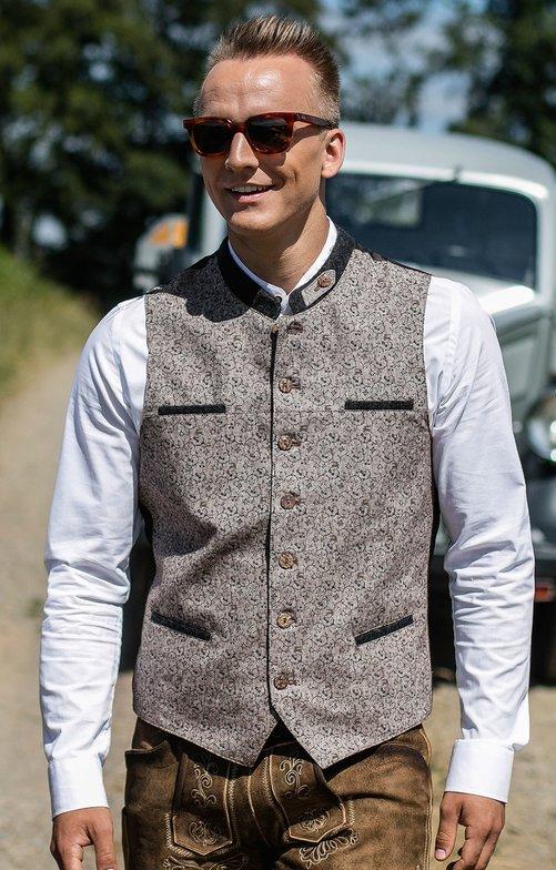 Traditional waistcoat GUNNAR beige gray