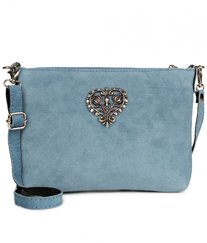 Traditional leather bag with metal heart TA30540-8525 black blue