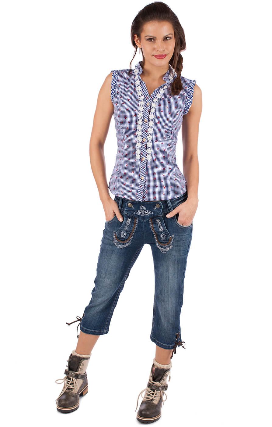 weitere Bilder von Trachtenbluse BOBI ohne Arm jeans blau