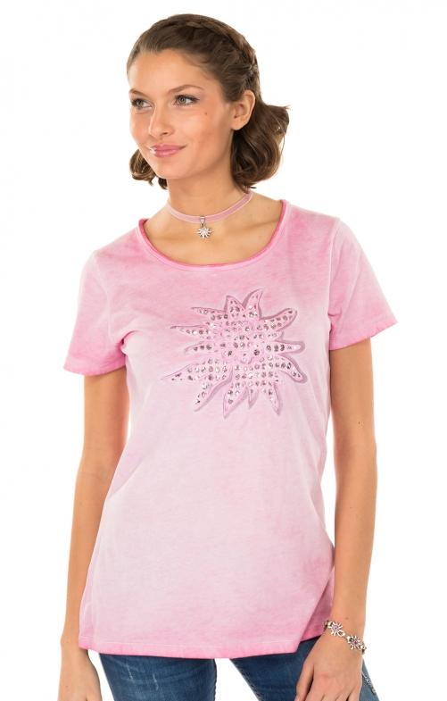 Trachten Shirt K04-EDELWEISSrosa
