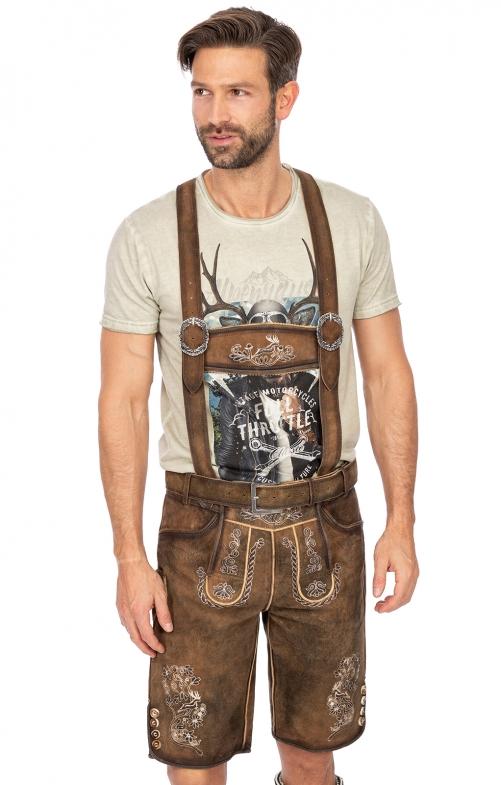 Lederhose mit Gürtel und Träger CARL antik brown