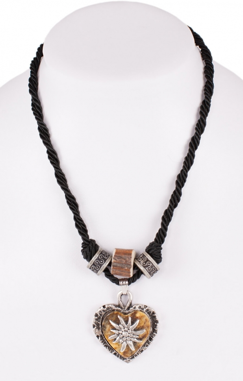 Traditional necklace uni with heart horn imitation12189-8598 black
