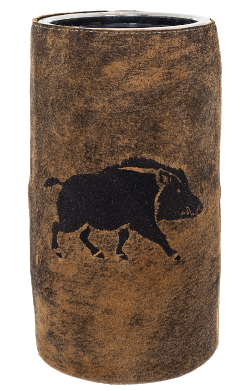 Wine cooler with leather WILDSCHWEIN brown