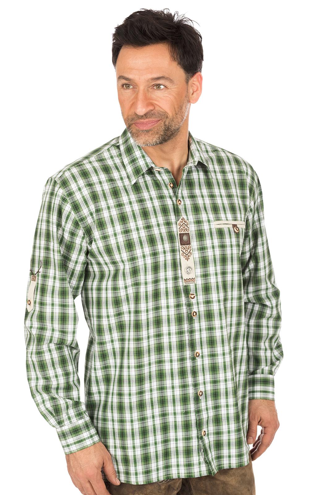 Trachtenkarohemd FLORIAN grün von OS-Trachten