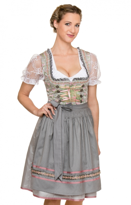 German Mini dirndl 2pcs. Cala white black 55 cm