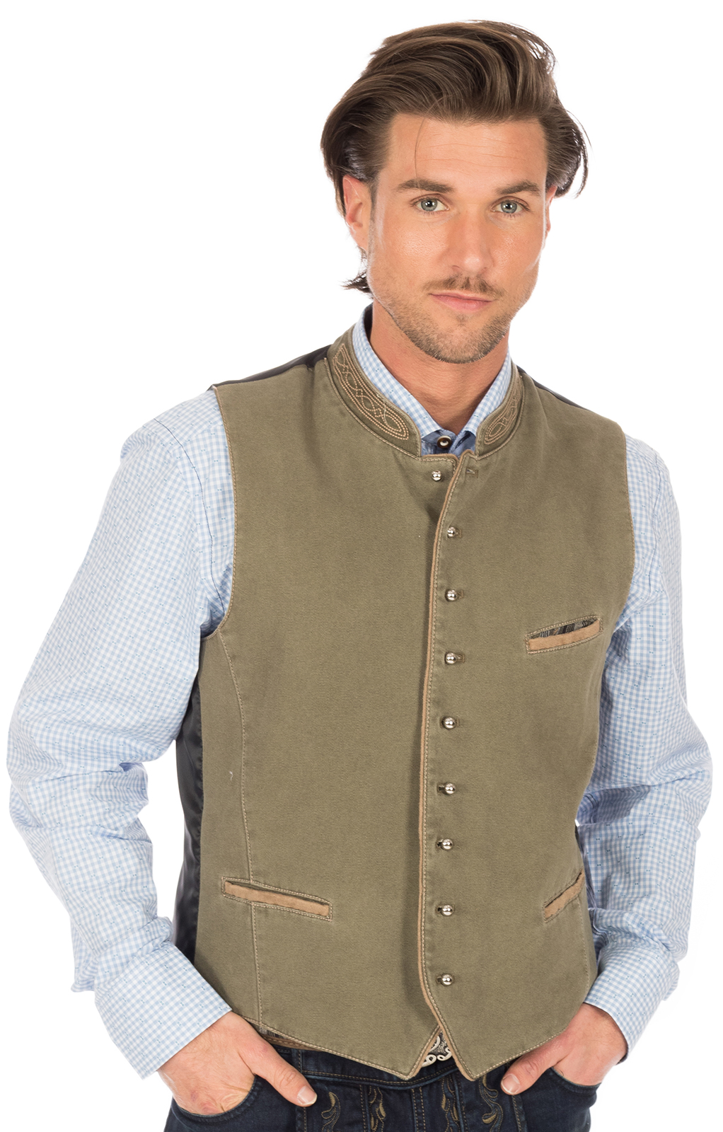 Traditional waistcoat with welt pockets ROCKY green von OS-Trachten