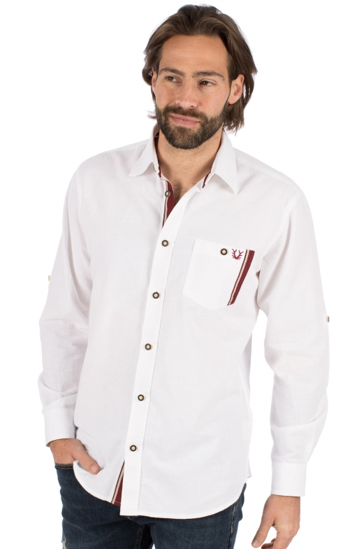 Trachtenhemd Langarm FRITZ weiß bordeaux