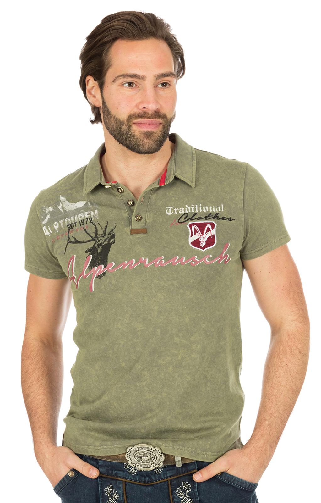 Trachten Poloshirt M19 ALPENRAUSCH khaki von Marjo