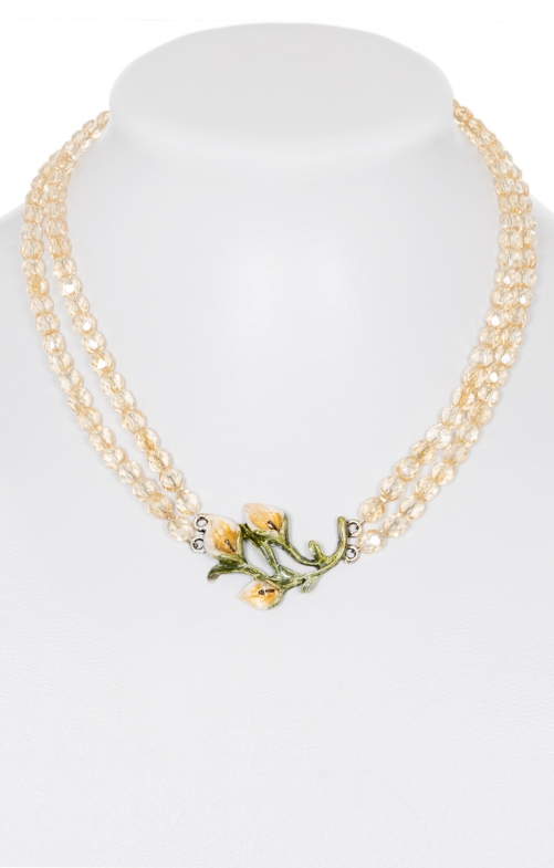 Trachten Glass pearl necklace 2-row 3892 cream