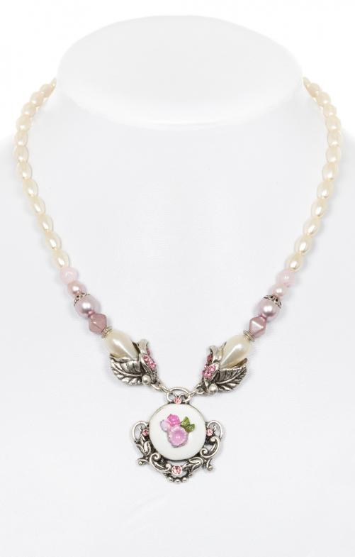 Perlenkette mit Blumenanhänger rosa