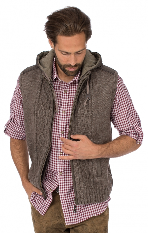 Traditional vest HAINBURG Hoodie brown