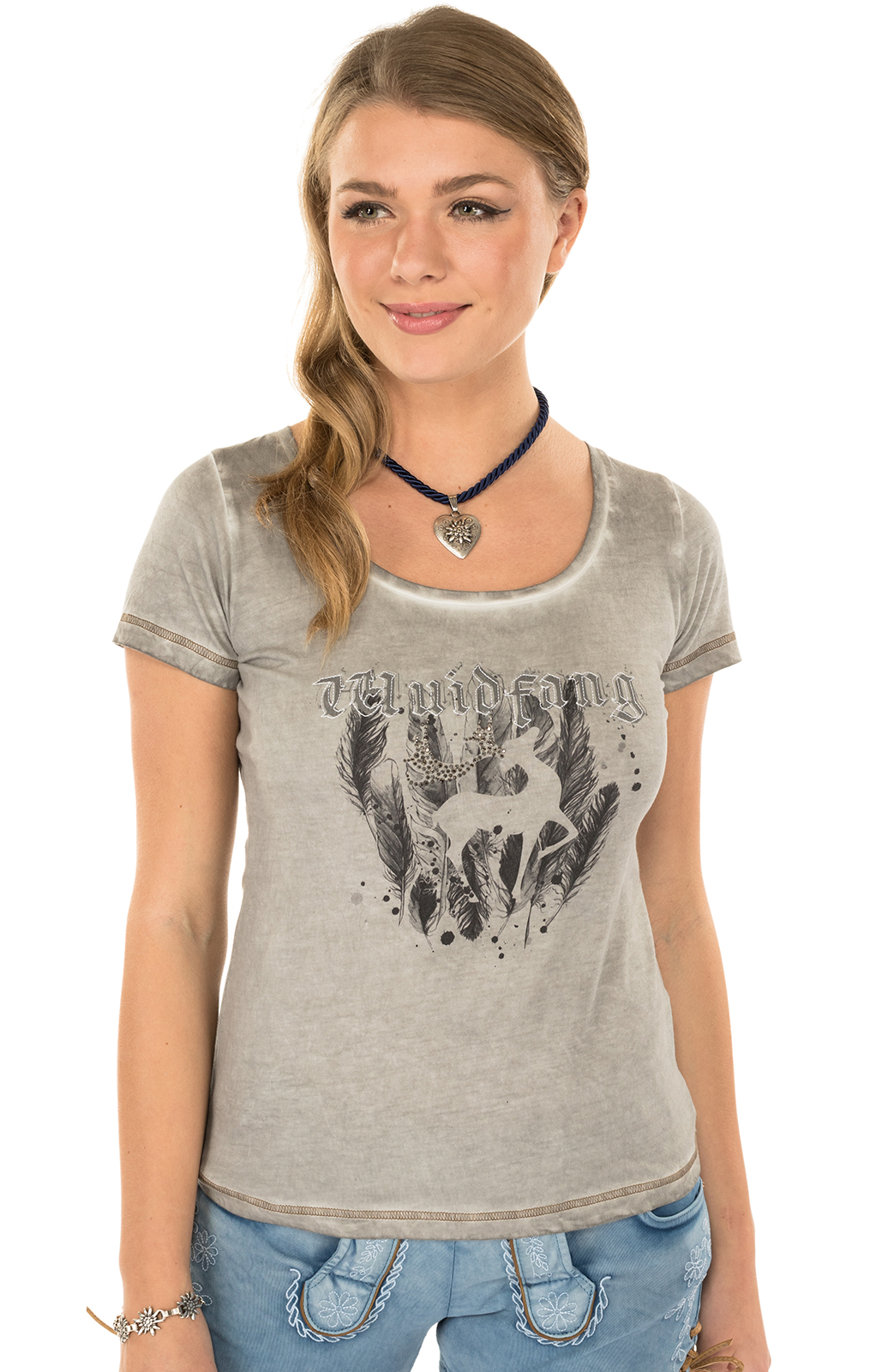 Trachten Shirt K02-SILBERHIRSCH gray von Marjo