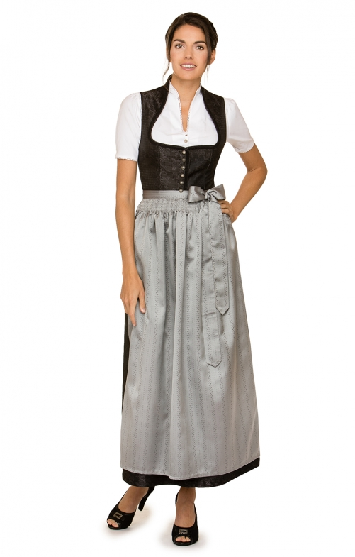 Dirndl long 1pcs. Lenora black gray 96 cm