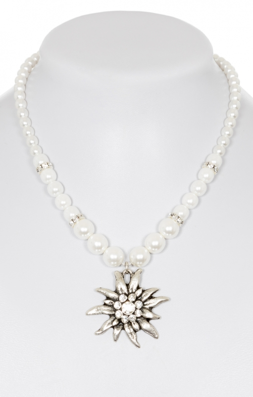 Tradtional Wax pearl necklace with big edelweiss 8782