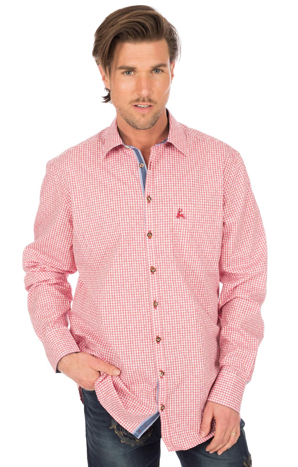German traditional shirt long sleeve red von OS-Trachten