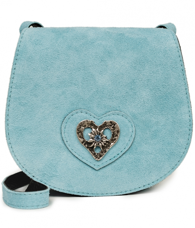 Traditional leather bag with heart TA30340-8489 blue
