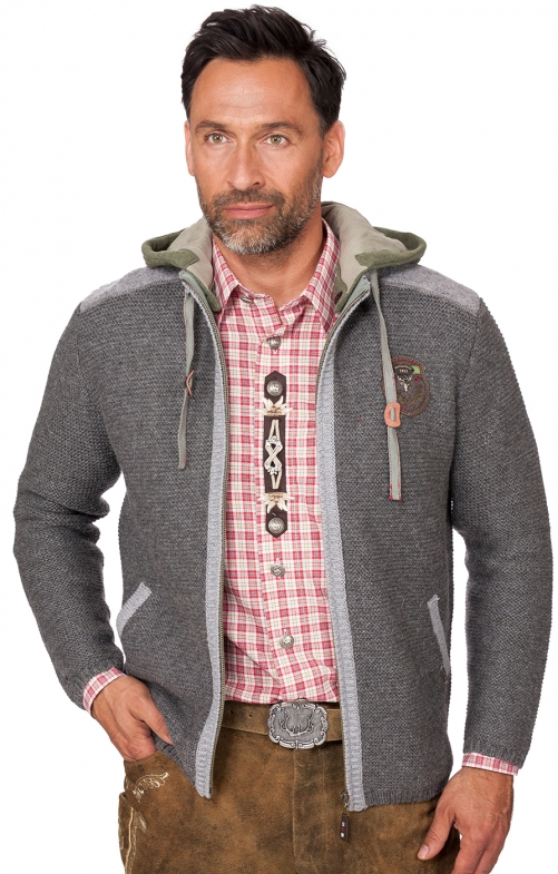 Traditional german cardigan DAKAR middle gray