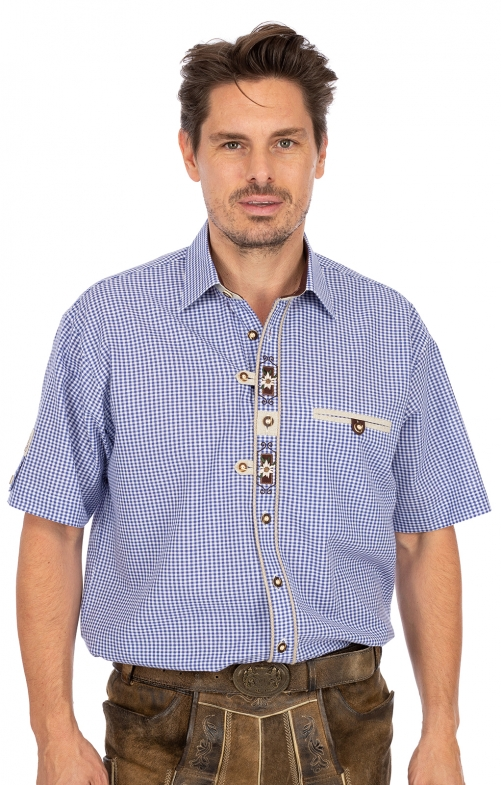German traditional shirt arms short EVEREST blue