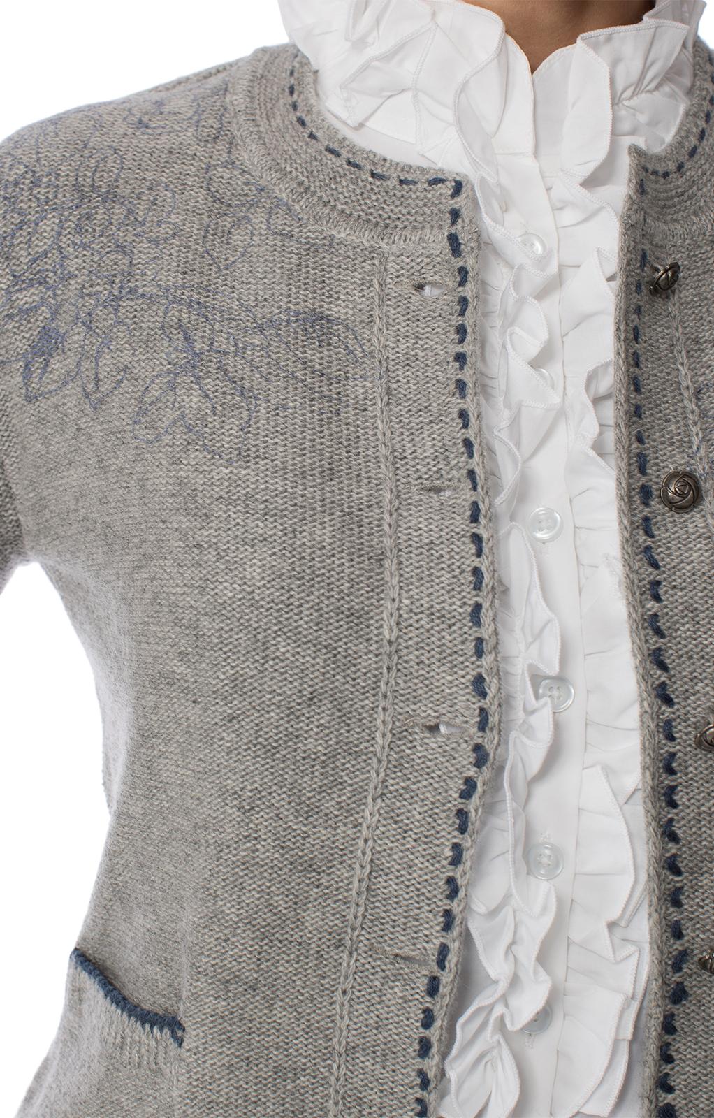 weitere Bilder von Trachten Strickjacke HEIDI Edelweiss-Stick grau blau