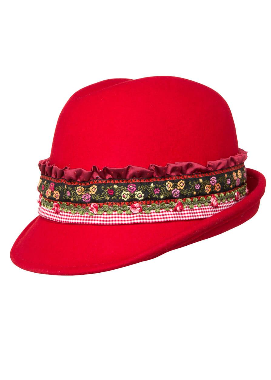 Trachtenhut 4550 rot mit Bordüre von Krüger Dirndl