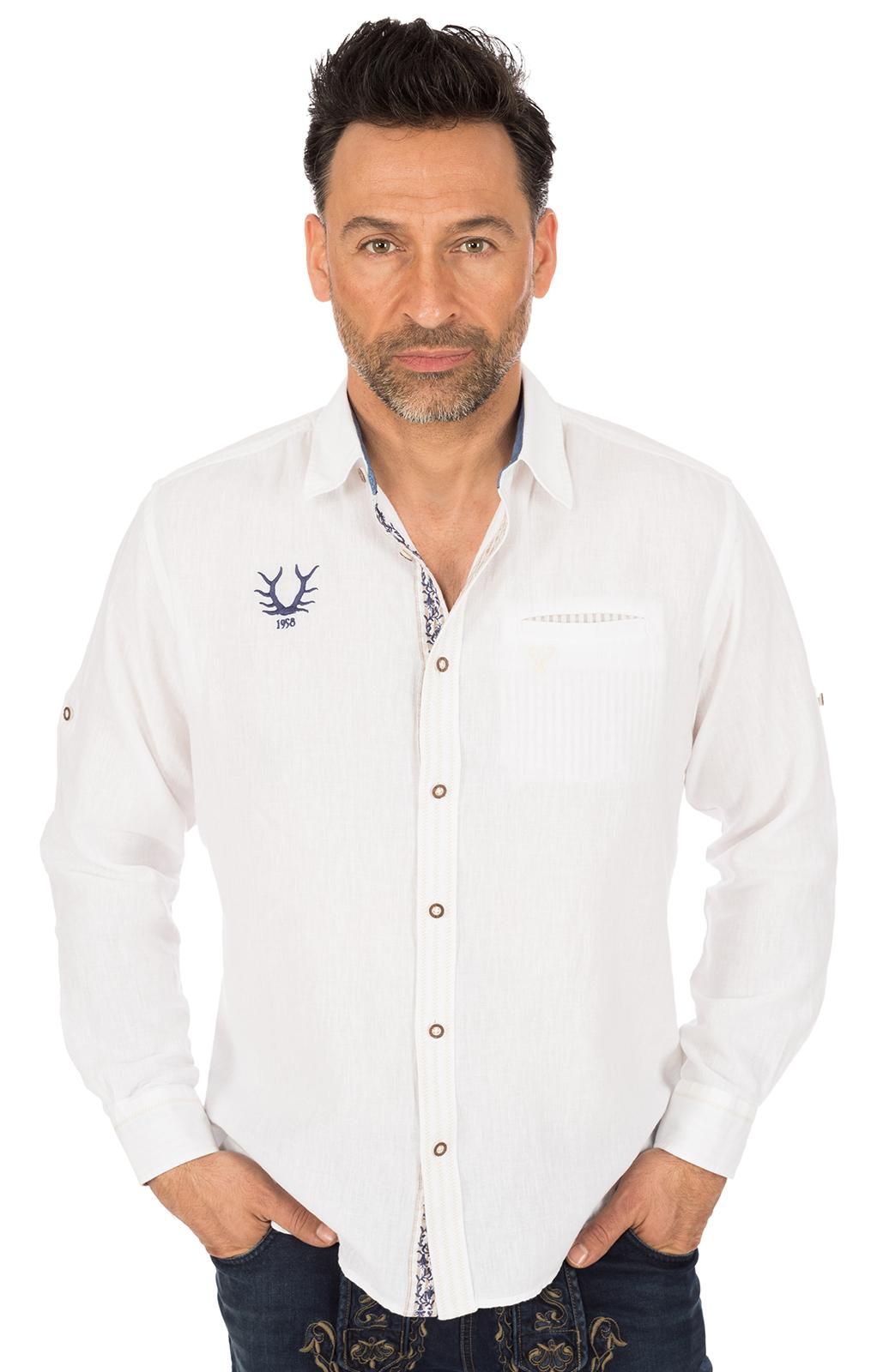 Trachtenhemd JANNIS Baumwolle weiss blau von Krüger Dirndl