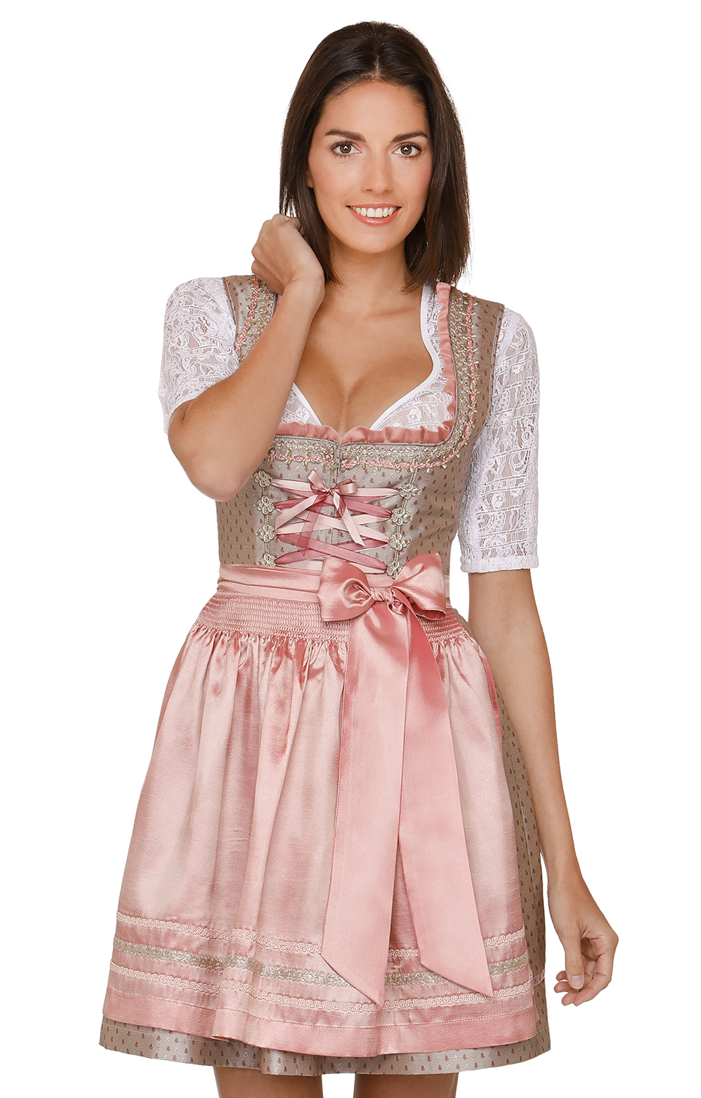 German Mini dirndl 2pcs. Mari brown pink 50 cm von Stockerpoint