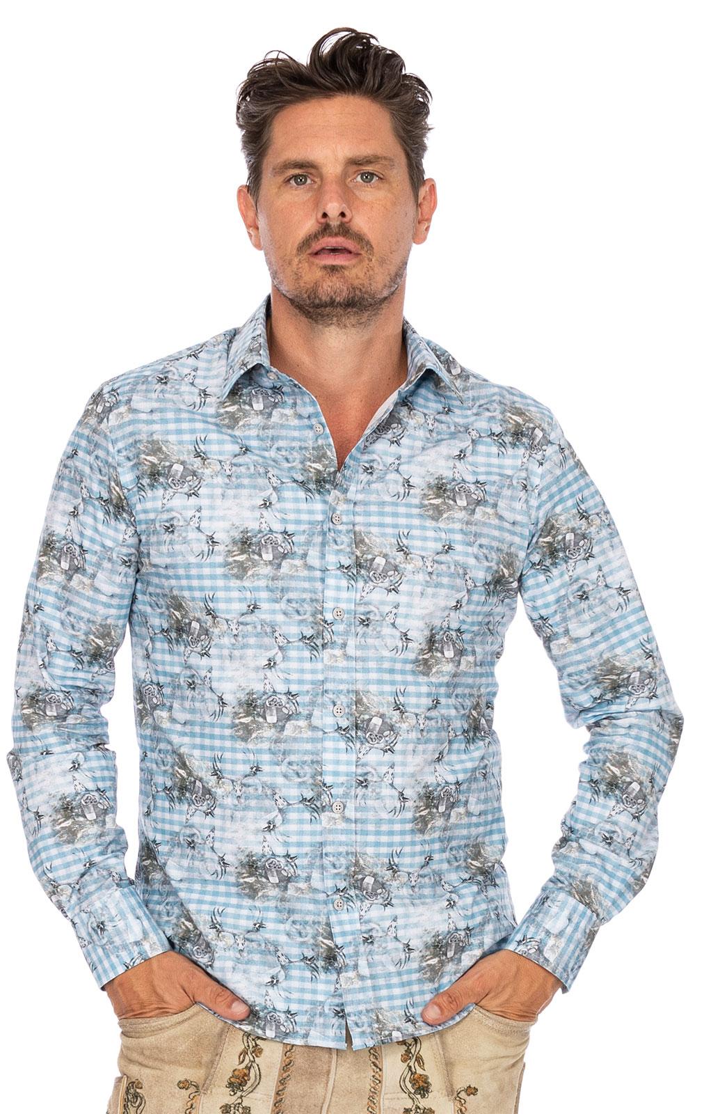 Trachtenhemd Langarm TOBIAS blau von Hangowear