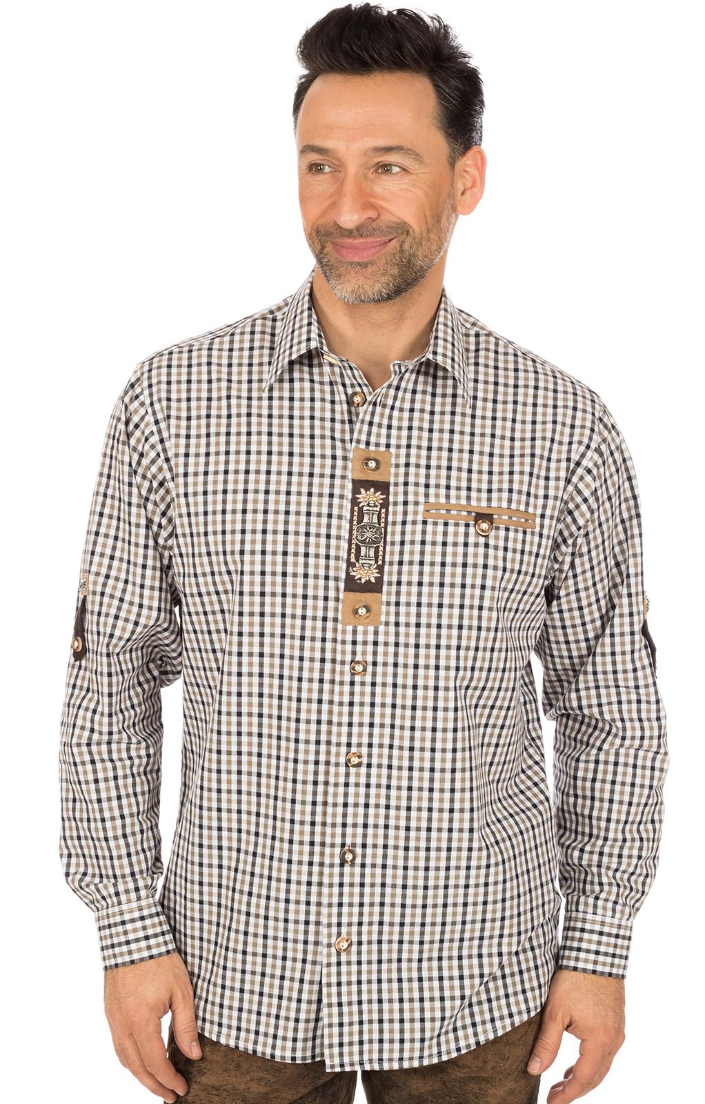 Trachtenhemd EMMERICH Krempelarm braun schwarz von OS-Trachten