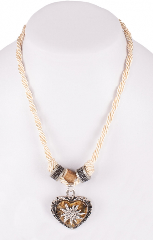 Traditional necklace uni with heart horn imitation 12189-8598 beige