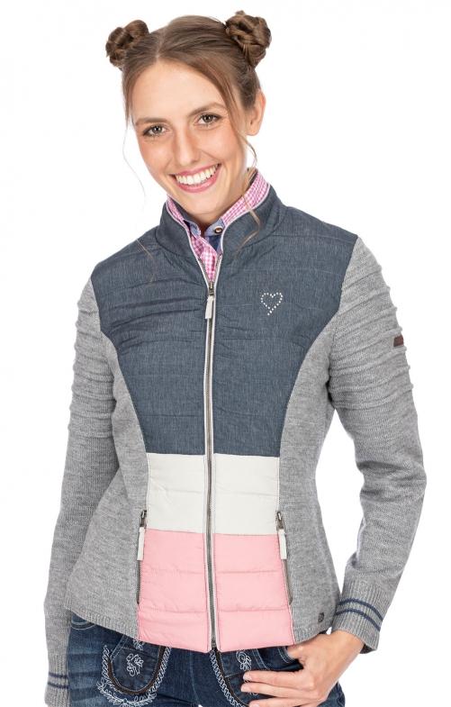 Giacca in maglia MANGO grigio chiaro rosa