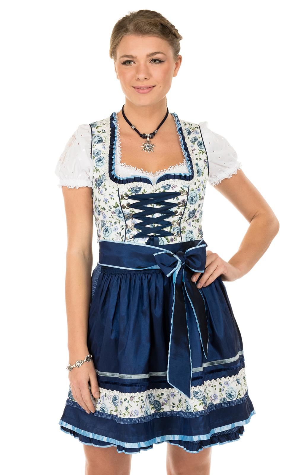 Mini-Dirndl 50cm Jessie blauw von Krüger Dirndl