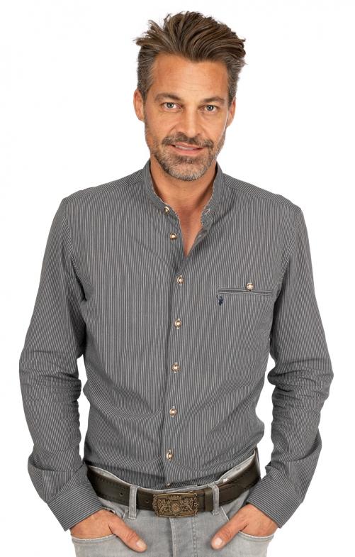 Camicia per Trachten Vestibilità NORM grigio