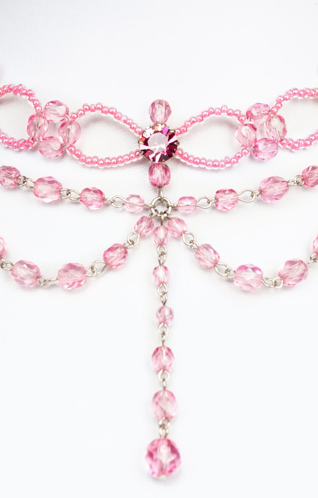 weitere Bilder von Glasperlencollier 12223 rosa